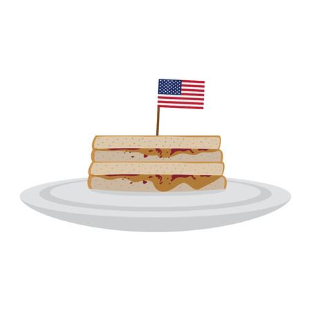 Sándwich de mantequilla de maní con la bandera de Estados Unidos. Ilustración de vector