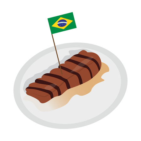 Picanha with a flag of Brazil.