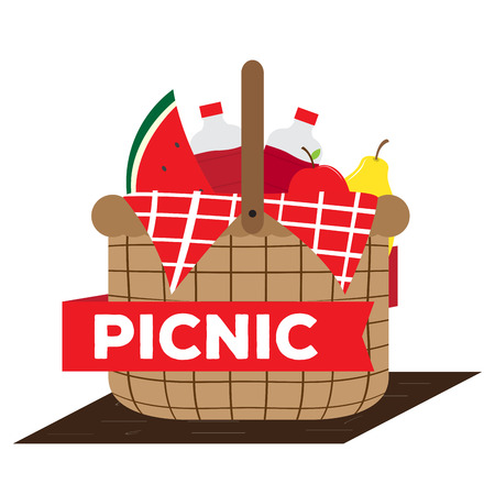 Picnic basket with soda bottles and fruits