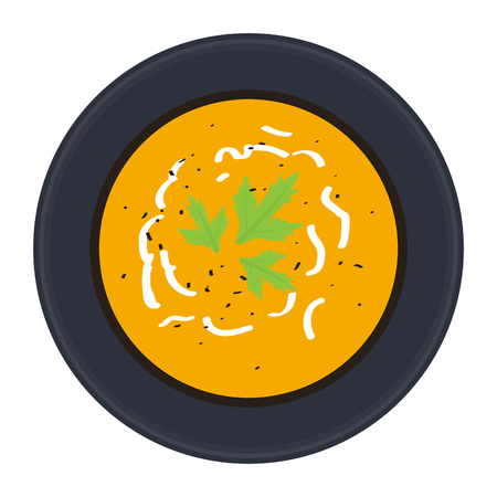 Top view of a soup on a dish