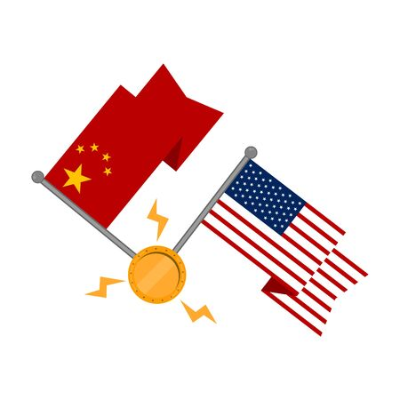 Waving flags of China an United states with a golden coin. Trade war concept - Vector