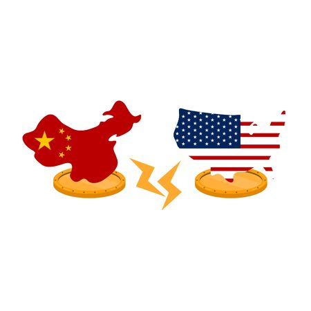 Flags of United States and China in maps shape on a golden coins - Vector