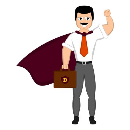 Isolated super dad with a hero costume - Vector