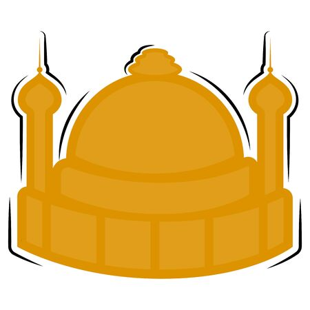 Isolated silhouette of an islamic mosque building - Vector