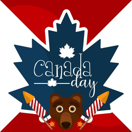 Canada day maple leaf label with a bear avatar and firework rockets
