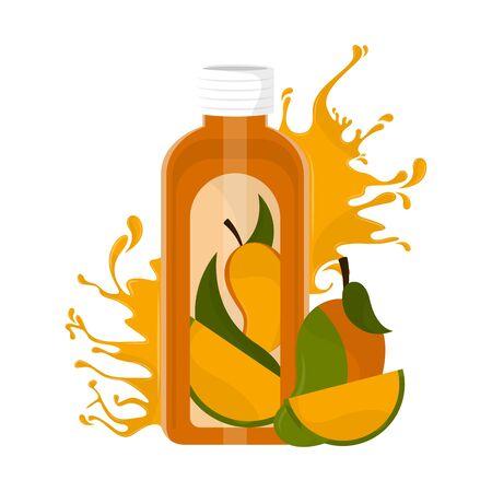 Mango juice bottle with splash and fruit