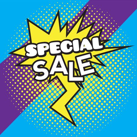 Comic bubble chat sale on a halftone background - Vector