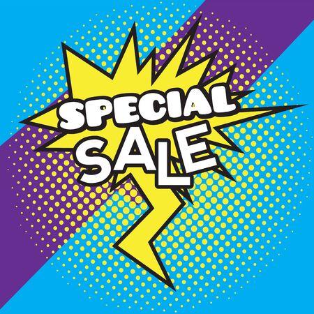 Comic-Bubble-Chat-Verkauf auf einem Halbton-Hintergrund - Vector