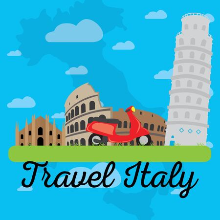 Colored landscape with different famous places in Italy. Travel to Italy - Vector 矢量图像