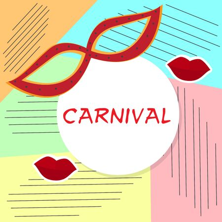 Colored carnival poster with a theater mask and red lips - Vector