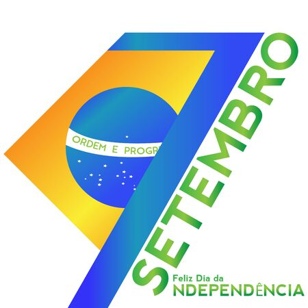 Brazil independence day illustration with a flag - Vector
