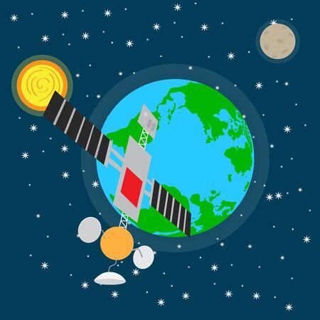 Satellit über einem Weltraumhintergrund mit dem Erdplaneten - Vektor Vektorgrafik
