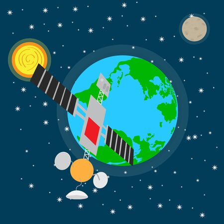 Satellite over a space background with the earth planet - Vector