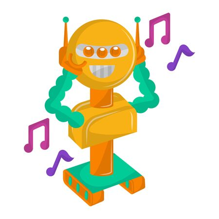 Happy robot toy with musical notes on a white background - Vector
