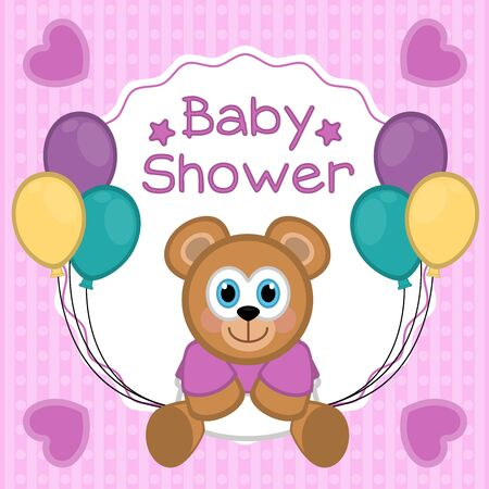 Baby shower card with a teddy- Vector