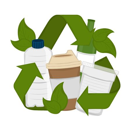 Water bottle and paper glasses in a recycling symbol with leaves - Vector