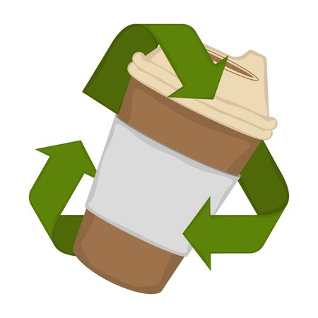 Paper cup in a recycling symbol - Vector illustration 일러스트