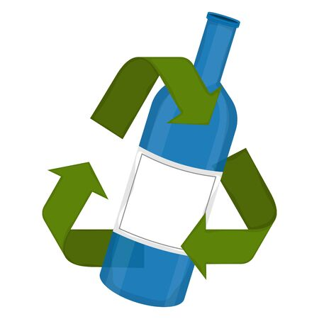 Glass bottle in a recycling symbol - Vector illustration