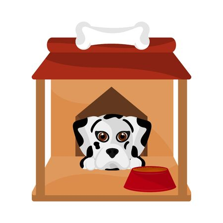 Dog house with a cute dalmatian cartoon - Vector