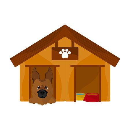 Dog house with a cute dog cartoon - Vector Vektoros illusztráció