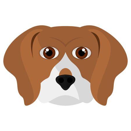 Isolated cute beagle head cartoon. Dog breeds - Vector Ilustração