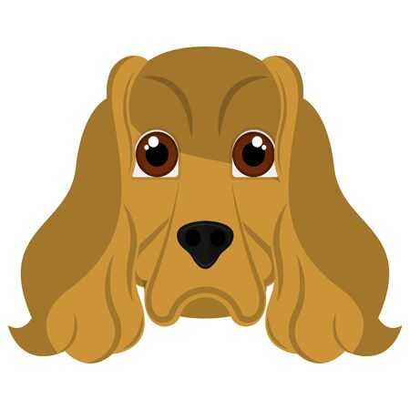Isolated cute cocker spaniel. Dog breeds - Vector Illustration