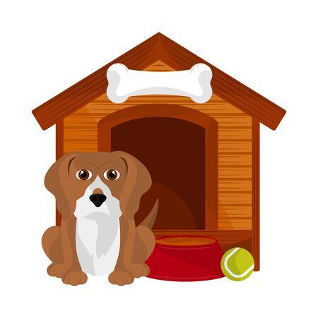 Dog house with a cute beagle cartoon - Vector