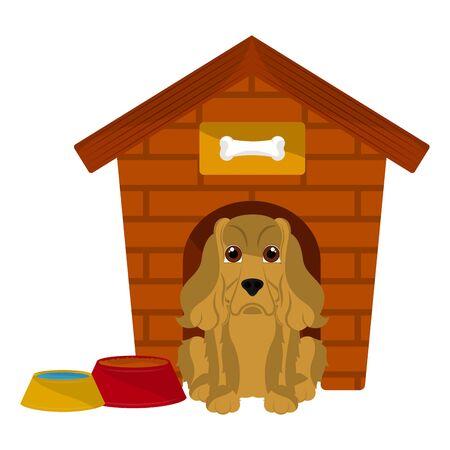 Dog house with a cocker spaniel cartoon - Vector