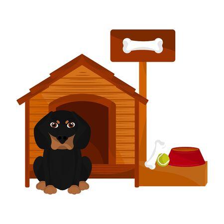 Dog house with a dachshunds cartoon- Vector