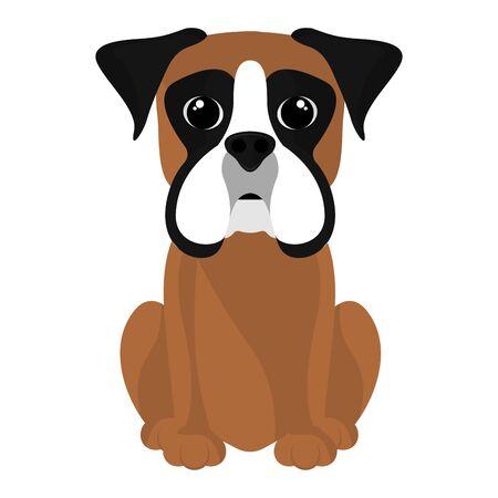 Dibujos animados de boxeador lindo aislado. Razas de perros - Vector Ilustración de vector