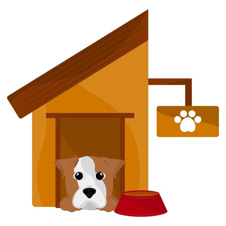 Dog house with a jack russell terrier cartoon - Vector