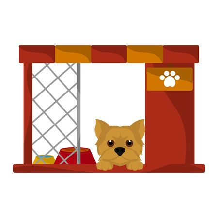 Dog house with a cute yorkshire terrier cartoon - Vector Illustration