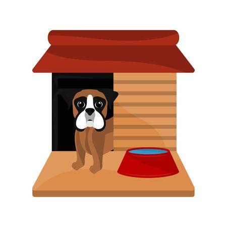 Dog house with a cute boxer cartoon - Vector
