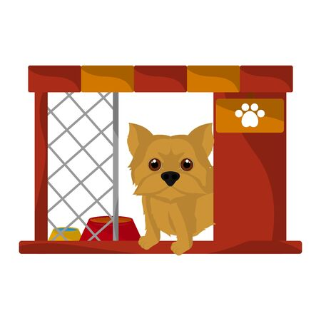 Dog house with a cute yorkshire terrier cartoon - Vector  イラスト・ベクター素材