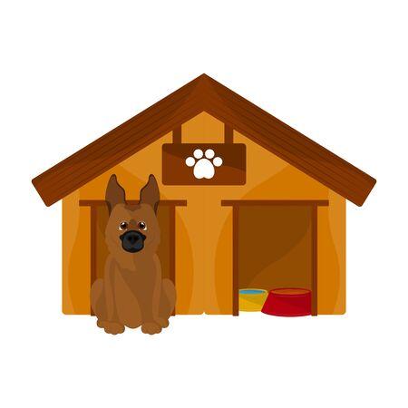 Dog house with a cute dog cartoon - Vector