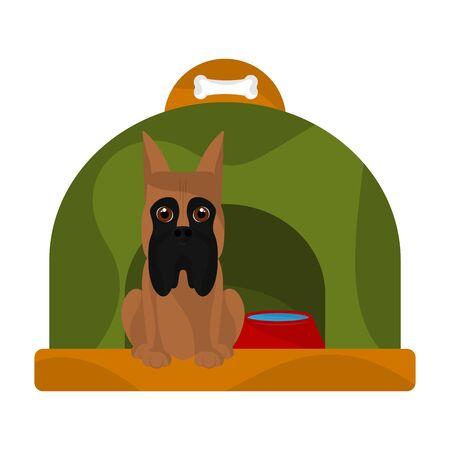 Dog house with a cute great dane cartoon - Vector
