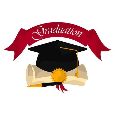 Graduation cap with diploma amd ribbon. Graduation concept - Vector