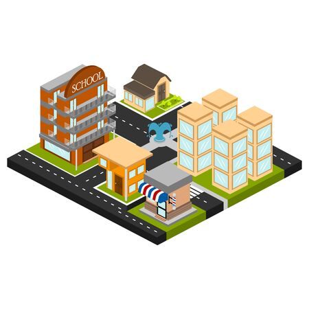 Isolated skyline of a 3d city over a white background - Vector
