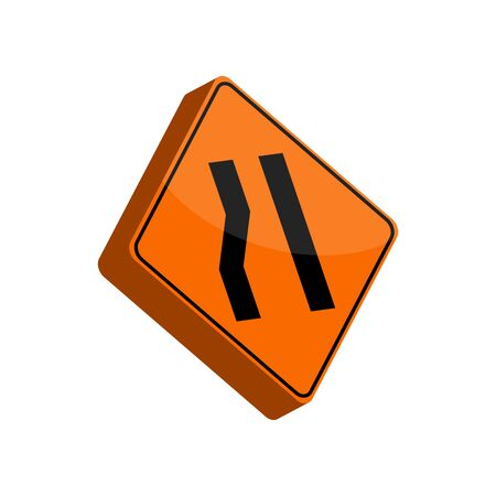 Isolated 3D traffic signal. Lane reduction sign - Vector