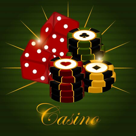 Casino poster with a poker chips and dices - Vector Vector Illustration