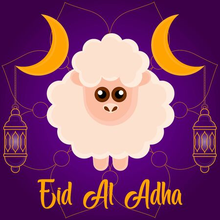 Eid al Adlha poster with crescent and sheep - Vector illustration
