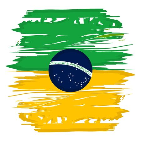 Flag watercolor of Brazil on a white background - Vector illustration