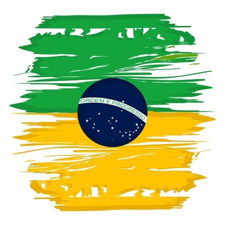 Flagge Aquarell von Brasilien auf weißem Hintergrund - Vektor-Illustration