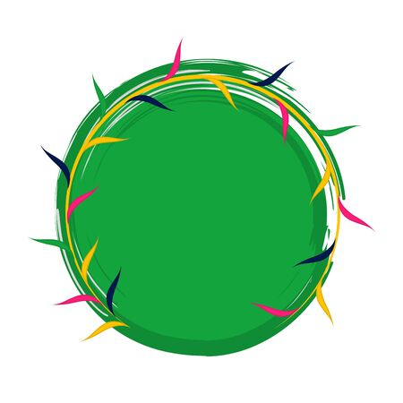 Isolated green label with thorns - Vector illustration