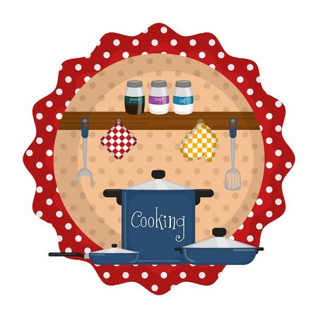 Cooking label with kitchen objects - Vector illustration