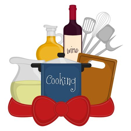 Set of cookware with a red ribbon - Vector illustration