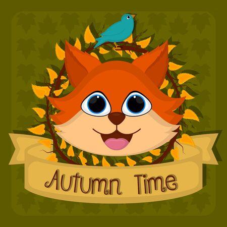 Autumn time card with a cute fox amd bird - Vector