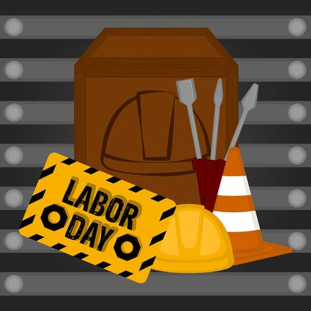 Labor day poster with a construction tools - Vector
