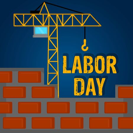 Labor day poster with a crane - Vector 向量圖像