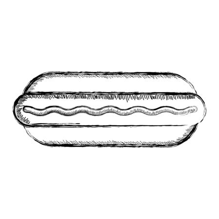 Isolated retro sketch of a hot dog - Vector illustration